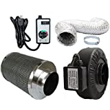 Powermaxx Premium Charcoal Carbon Filter with Inline Fan Combo and Speed Controller, 16 feet Ducting, 6