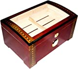 200 ct LUXURY RED WOOD CLEAR TOP WOOD CIGAR HUMIDOR