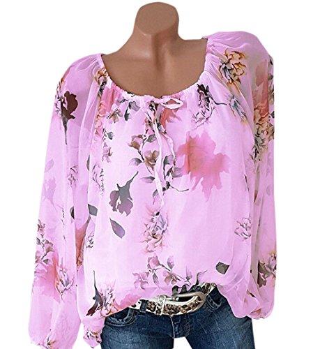 Tees T Shirts Chemisiers et Hauts Tunique Printemps JackenLOVE Tops Longues Rose Manches Femmes Mode Automne Shirt Imprime Casual Col Bateau Blouse Tz058q