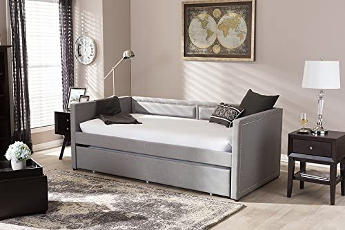 Baxton Studio Raymond Modern and Contemporary Nail Heads Trimmed Sofa Daybed with Roll-Out Trundle Guest Bed Grey