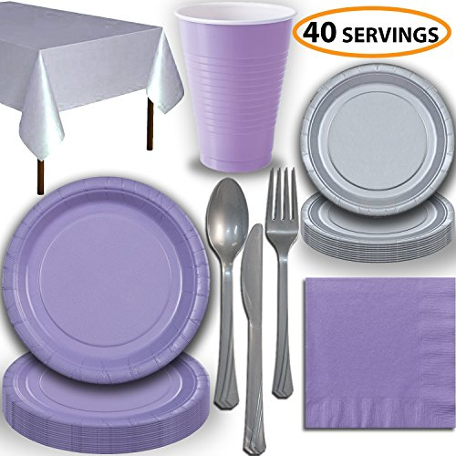 Disposable Party Supplies, Serves 40 - Lavender and Silver - Large and Small Paper Plates, 12 oz Plastic Cups, Heavyweight Cutlery, Napkins, and Tablecloths. Full Two-Tone Tableware -