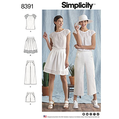 SIMPLICITY 8391 MISSES' TOP, SKIRT, PANTS, SHORTS (SIZE 6-14) SEWING PATTERN (Sailor Pants Pattern)