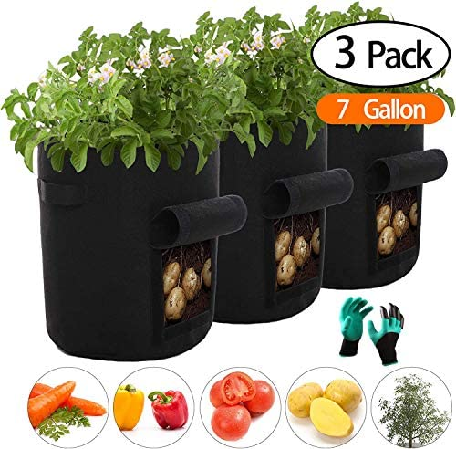 HIQE-FL /Übertopf Vliesstoff Pflanzsack,Pflanzsack 7 Gallonen,Kartoffelsack Pflanzsack,Potato Plant Bag,Kartoffel Pflanzsack Vlies,Stoff T/öpfe,Erdbeere Pflanzsack,and Gardening Gloves