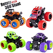 Monster Truck Toy Cars for Boys, 4 Pack Push Cars for Toddlers, 360 Degree Rotation 4 Wheels Drive Durable Fri
