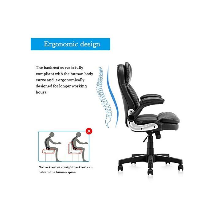 51l33zn7EWL Diseño ergonómico: el diseño del soporte lumbar y el reposacabezas de apoyo proporcionan un apoyo cómodo. Nuestro sillón te ofrece una gran comodidad elástica y un fuerte soporte de espalda. Alivia y reduce eficazmente el dolor de espalda Uso universal: nuestra silla clásica de cuero se adapta a varios tipos de oficina. El sillón de cuero tiene almohadillas de cojín y cojín de cuero acolchado negro, te hacen sentir cómodo y lleno de fuerza todo el día Cumple con las normas BIFMA: la funda de piel sintética respetuosa con el medio ambiente garantiza un uso a largo plazo. El elevador de gas y los reposabrazos cumplen con las normas BIFMA. Base de acero de cinco estrellas con un diámetro de 70 cm, garantiza una estabilidad general y muy robusta y duradera. Capacidad de peso de hasta 127 kg