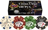 Da Vinci 100 Dice Straight Flush Poker Chips in Las Vegas Gift Box, 11.5gm (Sports)