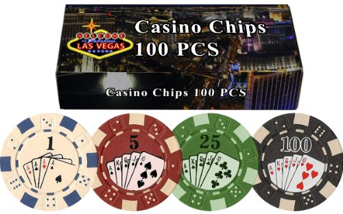 DA VINCI 100 Dice Straight Flush Poker Chips in Las Vegas Gift Box, 11.5gm