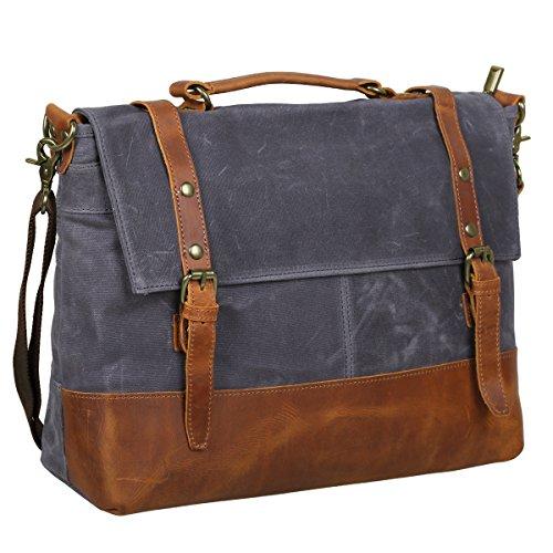 S-ZONE Vintage Water Resistance Canvas Leather Messenger Traveling Briefcase Shoulder Laptop Bag