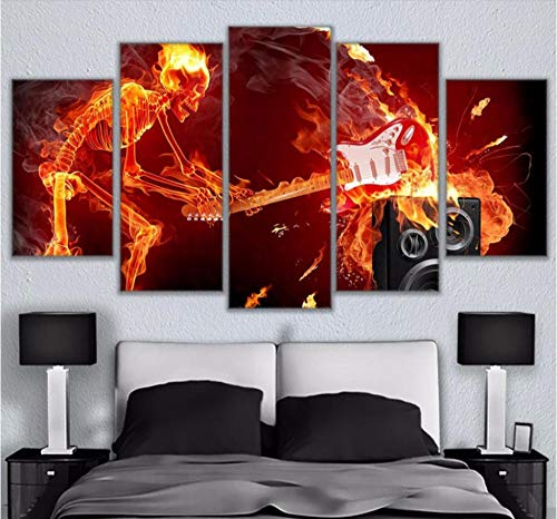 HNFSSK Canvas Painting Modular Pictures Living Room Decor Canvas Wall Art 5 Pieces Flaming Skeleton Smashing Guitar Paintings Hd Printed Posters -Frame ()
