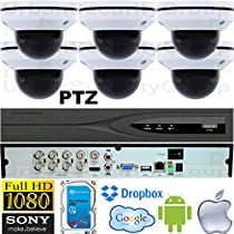 USG Business Grade PTZ 2MP HD-TVI 6 Camera CCTV Kit : 6x 2MP PTZ Auto-Focus Dome Cameras + 1x 8 Channel 3MP DVR + 1x 4TB HDD : Apple Android Phone App : Use Coaxial BNC Cable : True Plug & Play