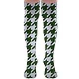 Houndstooth Fun Colors Woman's Knee High Compression Socks Faster Recovery Halloween Thigh High Socks