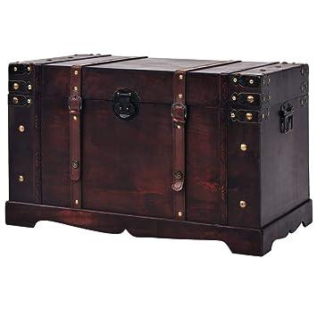 meilleur site web 21c9e 74575 vidaXL Coffre Vintage de Rangement Bois Boîte de Rangement Boîte de Stockage