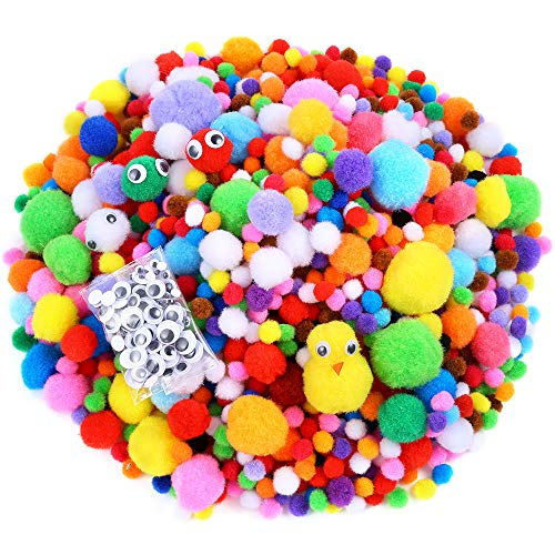 Caydo 1400 Pieces Fuzzy 5 Sizes Multicolor Assorted Pompoms with 4 Sizes Wiggle Googly Eyes for DIY, Creative Crafts Decorations