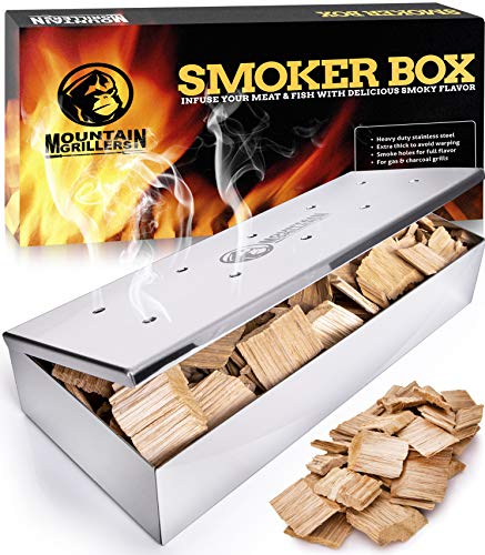 Smoker Box for Wood Chips - Use a Gas or Charcoal BBQ Grill and Still Get That Delicious Smoky Barbecue Flavored Grilled Meat - Brushed Finish Stainless Steel (Polished Finish Stainless Steel)