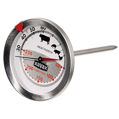 Xavax 2-in-1 Bratenthermometer (Edelstahl, gleichzeitige Messung von Gar- und Ofentemperatur, geeignet für Spülmaschinen) silber