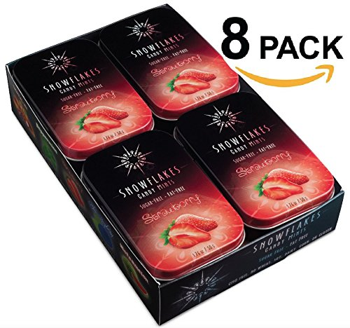 Strawberry Xylitol Candy Chips (8-Pack) - Snowflakes (8) 50g Tins - Handcrafted with ONLY 2 Ingredients | Diabetic-friendly, Non-GMO, Vegan, GF & Kosher | Purest sugar-free candy in the world!]()