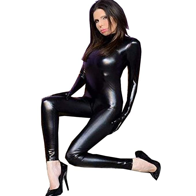 e69d0b2be3e84 FASHION QUEEN Women's Pu Faux Leather Catsuit with Gloves Teddy ...