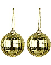 Nuxn 2pcs 3.9inch Mirror Disco Ball Christmas Glitter Ball Ornaments Gold Reflective Glass Mirror Ball with Hanging String for Xmas Tree Parties Weddings