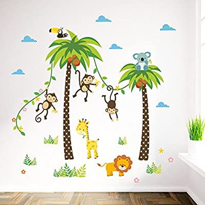 Jungle Animals Giraffe Lion Monkey Palm Tree Wall Decals Decorative Unisex Wall Sticker for Kids Rooms, Nursery, Playroom Removable DIY Decals