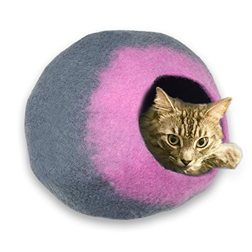 Image of Walking Palm Felted Wool Cat Cave Bed Gray and Pink