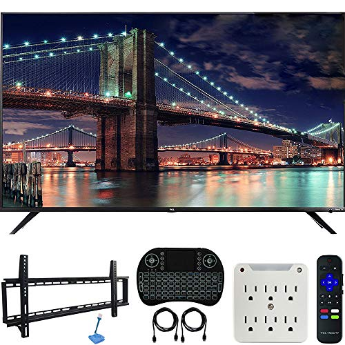 TCL 65R617 65-inch Class 6-Series 4K HDR Roku Smart TV Bundle with 37-70-inch Low Profile Wall Mount Kit, Deco Gear Wireless Keyboard and 6-Outlet Surge Adapter with Night Light