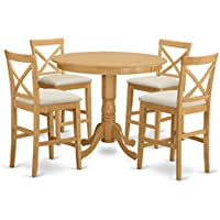 East West Furniture TRPB5-OAK-C 5 Piece High Table and 4 Kitchen Chairs Set