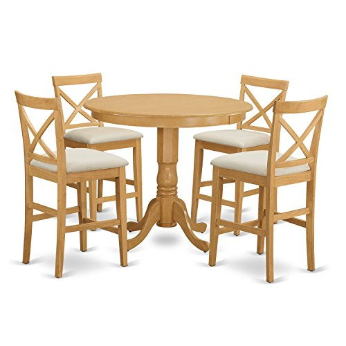 East West Furniture TRPB5-OAK-C 5 Piece High Table and 4 Kitchen Chairs ()