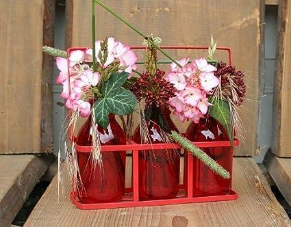 2 pieza mesa decorativo Jarrón de cristal – Jarrón con 3 Jarrones roja para fiestas y