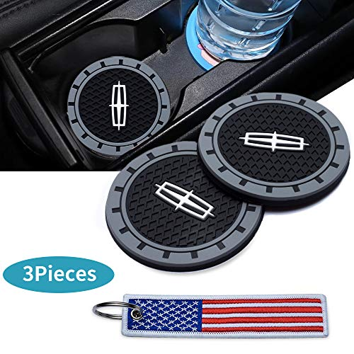 Kaolele 3Inc Tough Car Logo Vehicle Travel Auto Cup Holder Insert Coaster Can for Lincoln All Models with USA Flag Key Chain