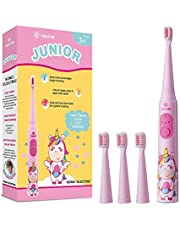 Vekkia Sonic Rechargeable Kids Electric Toothbrush, 3 Modes With Memory, Fun & Easy Cleaning, 31000 Strokes, IPX7 Waterproof, 2-Min Timer for Age 3+, 4 Soft Bristles(Pink)