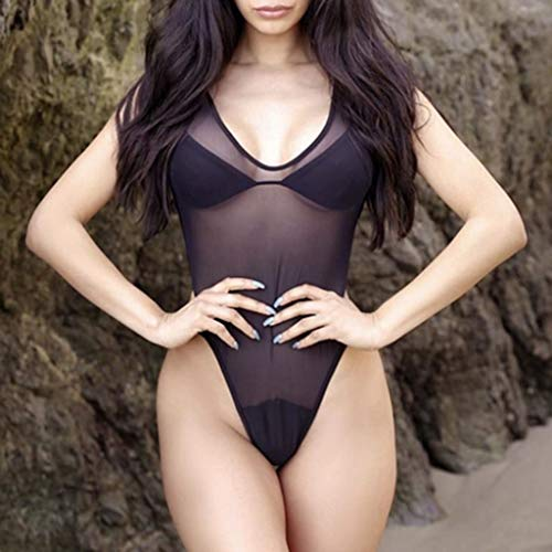 824b4209209ff Amazon.com  SSYUNO Women s Swimsuits One Piece Swimsuits Tummy Control  Backless Swimsuit Bathing Suit with Bra Beige  Clothing
