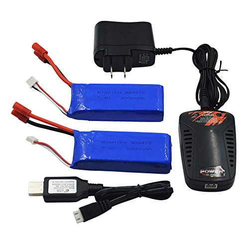 Blomiky 2pcs 7.4V 2000mAh Battery Banana Plug and Charger for SYMA X8C X8W X8G X8HD X8HW X8HG 506HG JXD 506G Holy HS300 HS400 Quadcopter X8C Battery 2