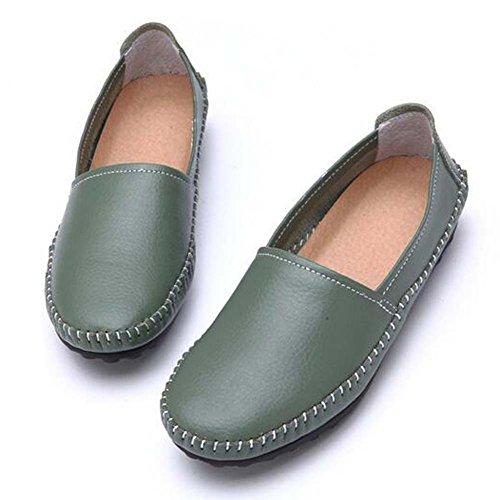 Hattie Women Casual Leather Loafers Moccasins Flats Boat Shoes Green y3EhFngU