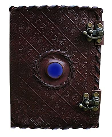 Handmade Embossed Blue Stone Leather Journal Notebook Refillable Sketchbook with 2 Latches, Lace Edging Diary By Cuero