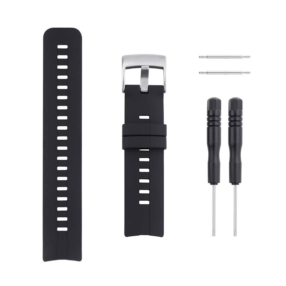 Sencato Suunto Spartan Sport HR Luxury Version Soft Silicone Replacement Band, Wrist Strap (Black) by Sencato