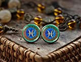 Pisces Zodiac stud earrings, Pisces earrings, Pisces Zodiac Jewelry, Pisces constellation, Pisces Zodiac Sign earrings, Astrology earrings