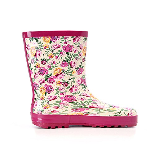 On Rain Peach Boot Ankle Pull and Overknee Cute Waterproof Print Women's Flower xnqRw7UHC