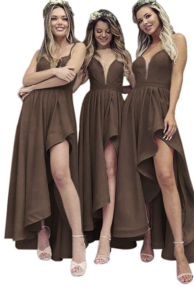Brown Dressylady A Line V Neck Spaghetti Straps High Low Satin Bridesmaid Dress Wedding Party Dress