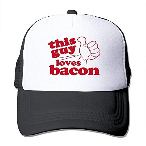 This Guy Loves Bacon Funny Mesh Back Caps Red One Szie with Unisex