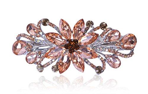 Sankuwen Flower Luxury Jewelry Design Hairpin Rhinestone Hair Barrette Clip (Orange)