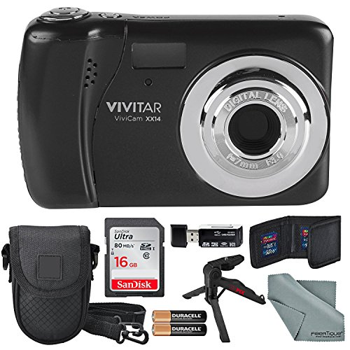 Vivitar ViviCam XX14 Digital Camera (Black) and Accessory Bundle W/ 16GB + Card Reader + Case + Xpix Tripod + Fiberitque Cleaning Cloth + Batteries + Memory Card Wallet by Photo Savings