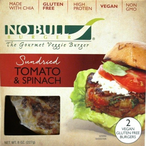 No Bull Vegan Gluten-Free Sun Dried Tomato & Spinach Gourmet Veggie Burgers - 12 - 2 Packs (24 Burgers total) Already Cooked- Heat & Serve by No Bull