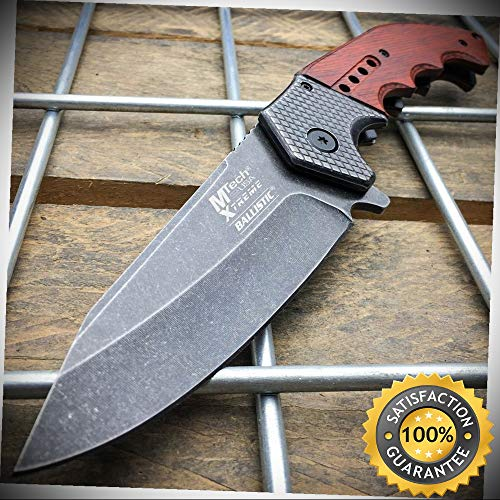 9'' SPRING ASSISTED OPEN Blade Folding POCKET KNIFE Wood Steampunk - Outdoor For Camping Hunting