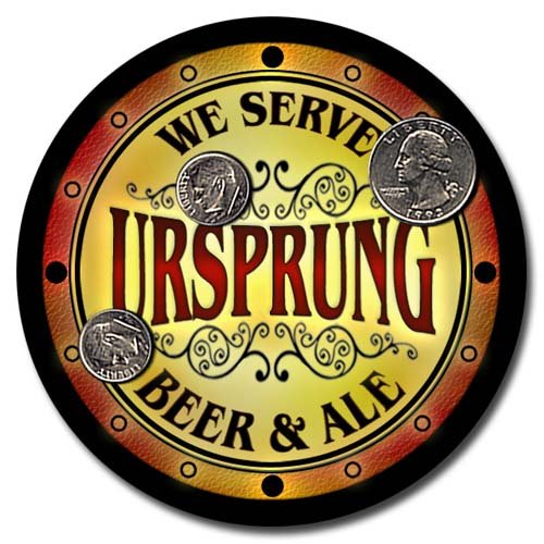 ZuWEE Brand Beer & Ale Coaster Set Personalized with the Ursprung Family Name