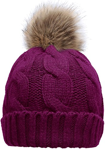 7621d51726f Women s Winter Ribbed Knit Faux Fur Pompoms Chunky Lined Beanie Hats Twist  Plum