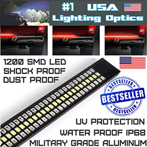Usa 60 Triple Led Tailgate Led Light Bar Sequential Amber Turn Signal Strobe Braking Solid Running Super White Reverse Light 1 200 Smd Led Ip68 Water Proof New 5 Function Design 2 Year Warranty