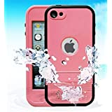 Red Pepper Waterproof case for Ipod Touch 5 Underwater Waterproof Shockproof Snow proof Dirt Proof Protection Case Cover with Finger Print ID and Built In Kickstand (Hot Pink Ipod Touch 5 Waterproof Case)