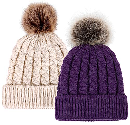 - Simplicity Unisex Winter Hand Knit Faux Fur Pompoms Beanie 2 Pieces Purple/Cream