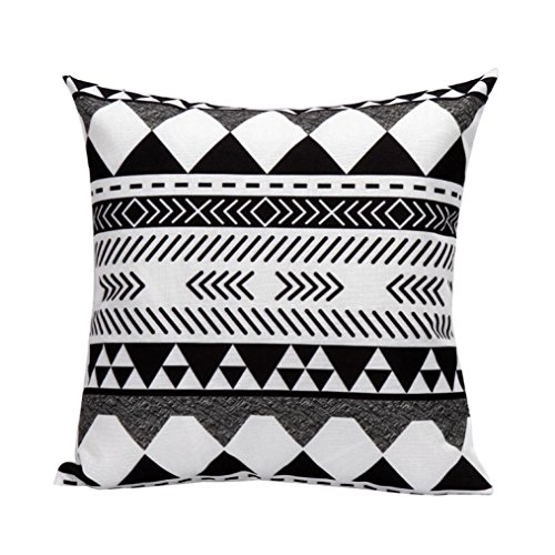 Gotd Black and White Geometric Stripe Pattern Pillow Decorations Decor Square Linen Blend Christmas Pillow Case Throw Pillow Cushion Cover Home Decor 45cm 18inch - Michaels Square Frame Sizes