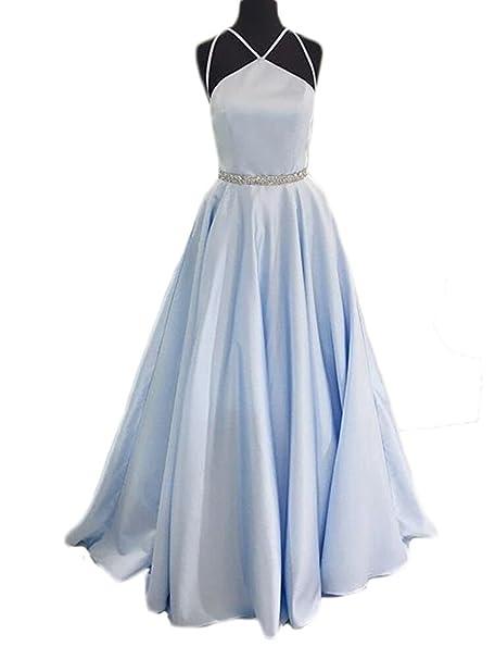 Sunnygirl Charming Formal Prom Dresses Halter Satin Backless Evening